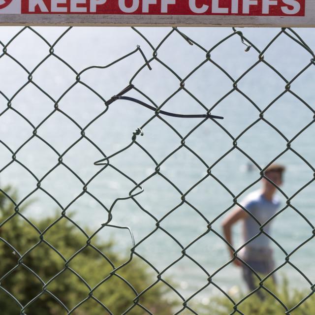 """""""Danger Keep Off Cliffs Sign"""" stock image"""