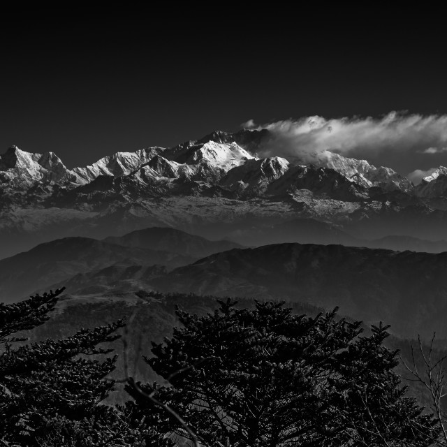 """View of Kanchenjunga and associated snow capped mountain peaks H"" stock image"
