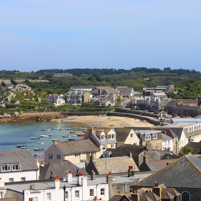 """Hugh Town, St Mary's, Scilly Isles"" stock image"
