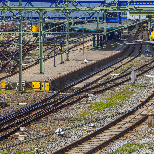 """Trainstation with tracks"" stock image"