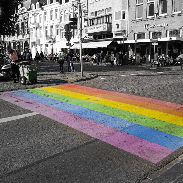 """DIY rainbow crossing in Maastricht, Holland."" stock image"