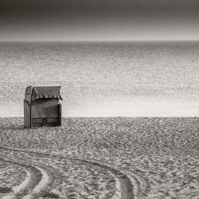 """Beach Huts in black and white 6"" stock image"
