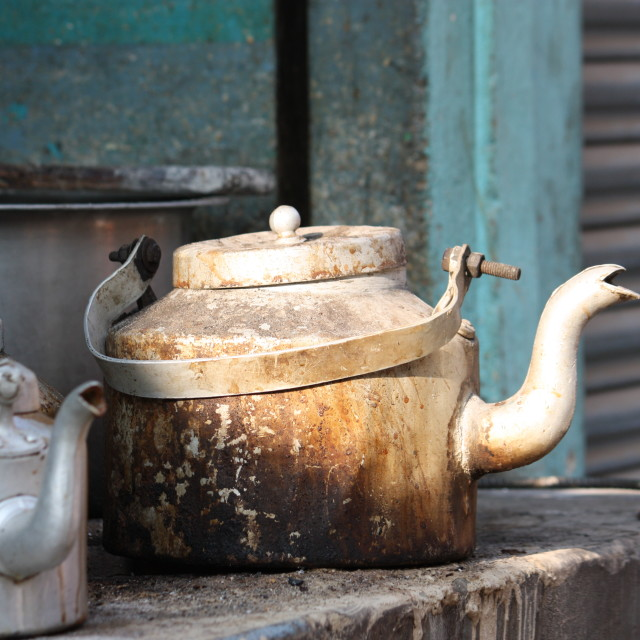 """""""Kettles on a stove"""" stock image"""