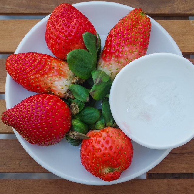 """""""A dish of strawberries"""" stock image"""