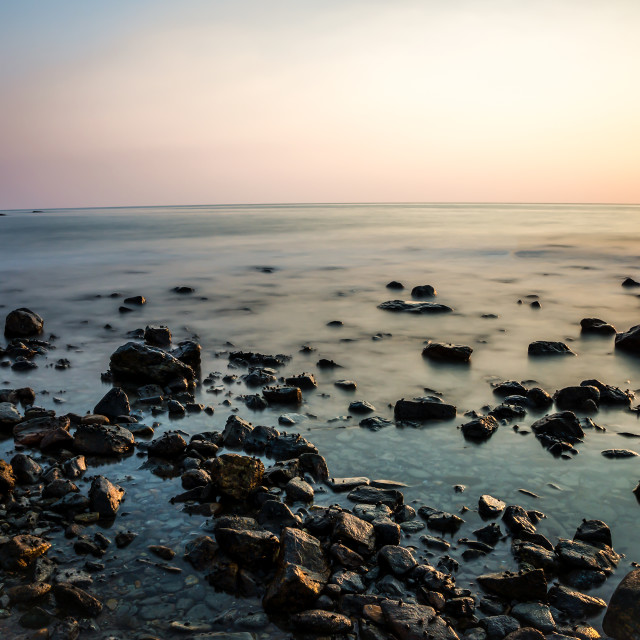 """View of rocky coast"" stock image"