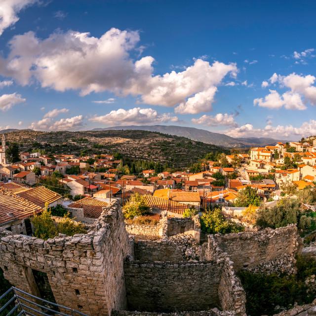 """Lofou, a traditional mountain Cyprus village. Limassol District."" stock image"
