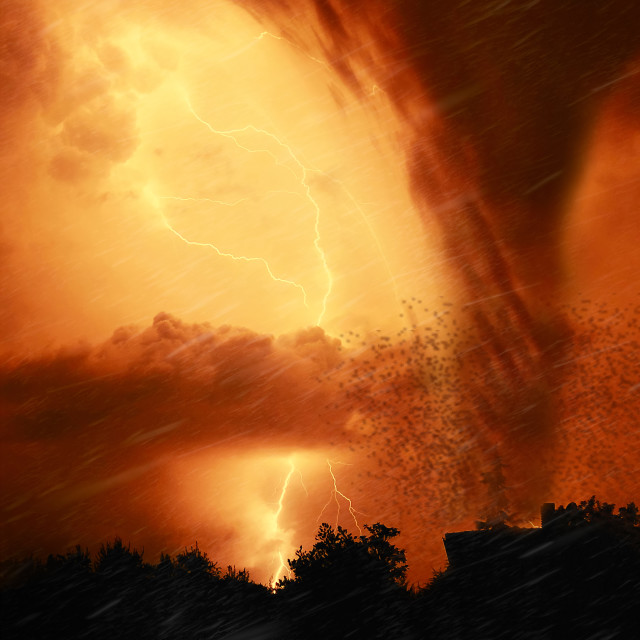 """Tornado in the night"" stock image"