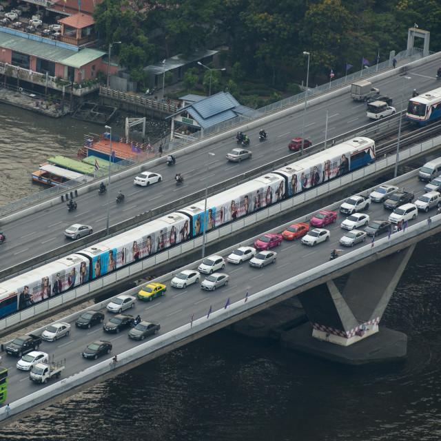 """ASIA THAILAND BANGKOK RIVERSIDE SKYLINE"" stock image"