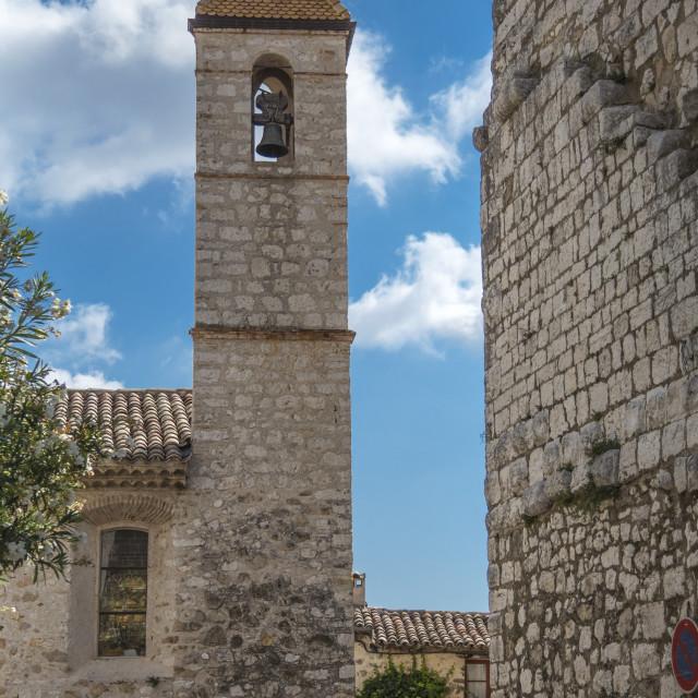 """Church Tower, St Paul de Vence"" stock image"