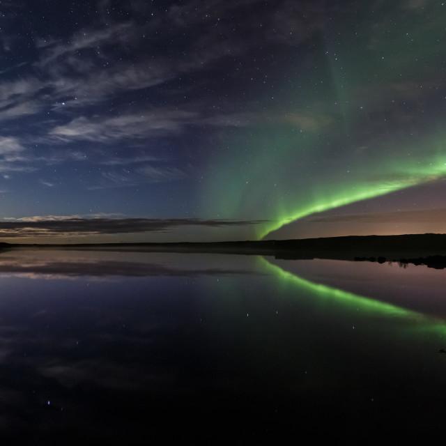 """Moonset at Seltjörn"" stock image"