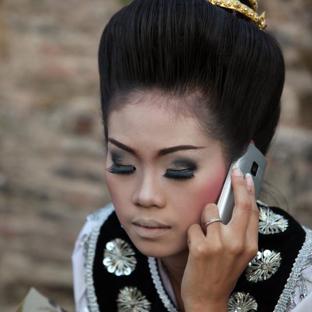 """""""ASIA THAILAND SUKHOTHAI TEMPLE WAT SA SI THAI DANCE"""" stock image"""