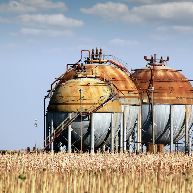 """""""gas tanks for petrochemical plant"""" stock image"""