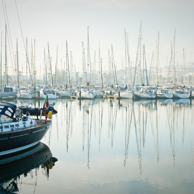 """""""Boats moored during a dense fog in the marina at Lagos, Algarve,"""" stock image"""