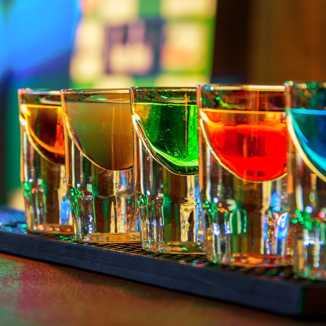 """Colorful shot drinks"" stock image"
