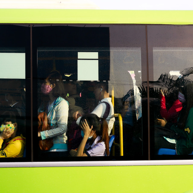 """""""On the bus"""" stock image"""