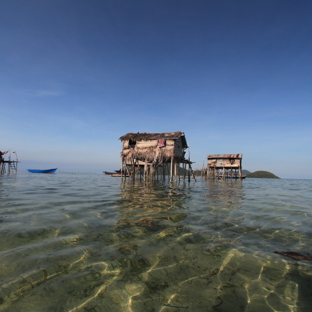 """low angle shot of sea gypsies houses"" stock image"