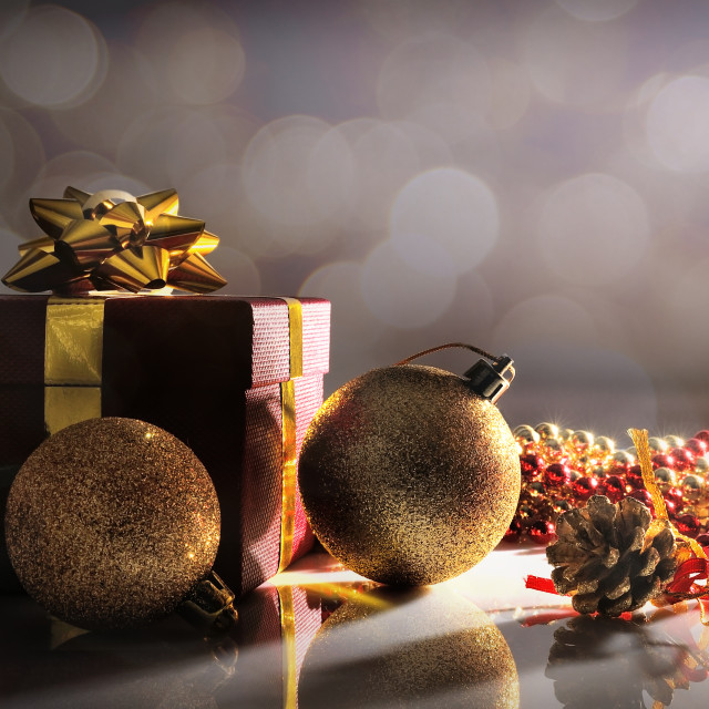 """""""Gloom Christmas decoration with two balls and gift"""" stock image"""