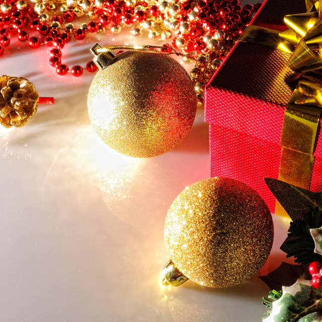 """Gloom Christmas decoration with two balls and gift top view"" stock image"