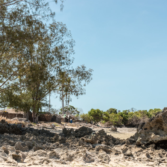 """Coastal Village in Mozambique 1"" stock image"