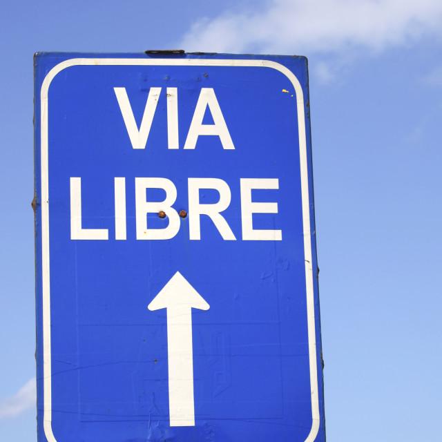 """""""Roadsign in spanish"""" stock image"""