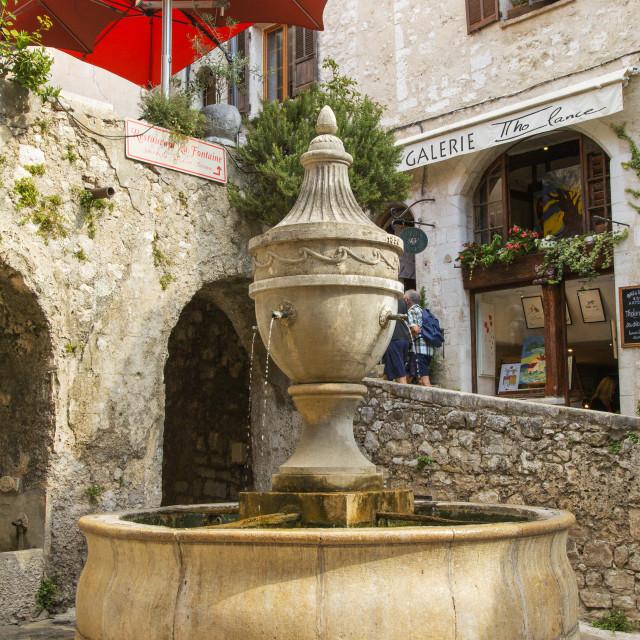 """Fountain in St Paul de Vence"" stock image"