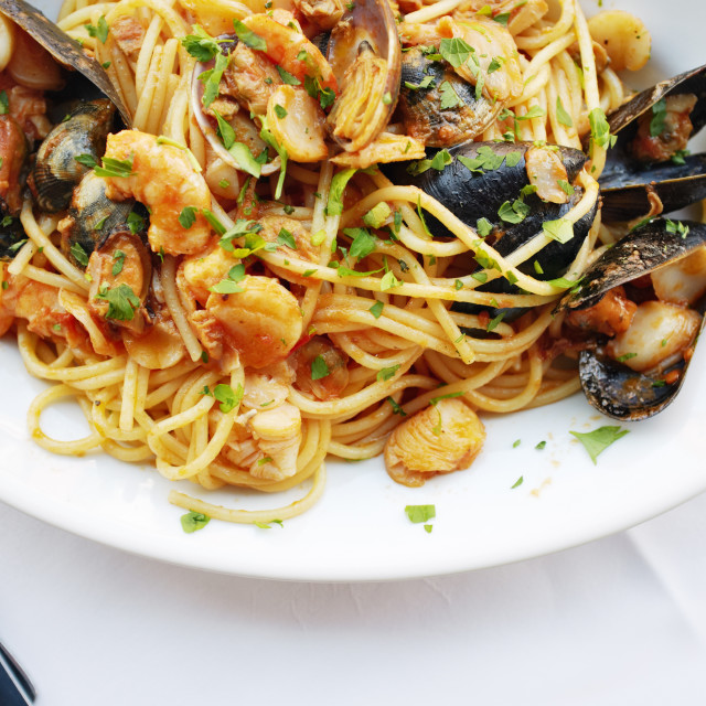"""Seafood Pasta"" stock image"