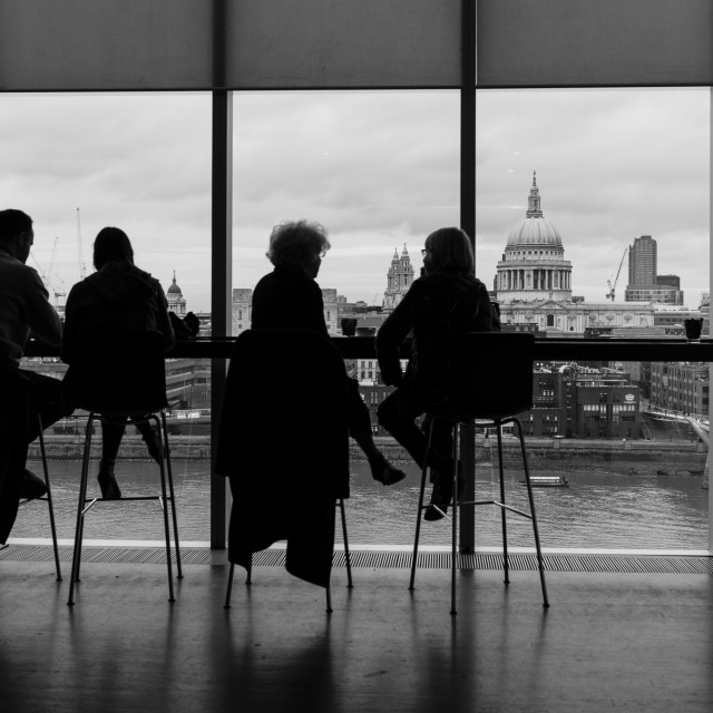 """""""Coffee at The Tate Modern"""" stock image"""