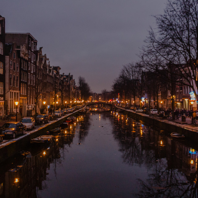 """Canal at Dusk"" stock image"