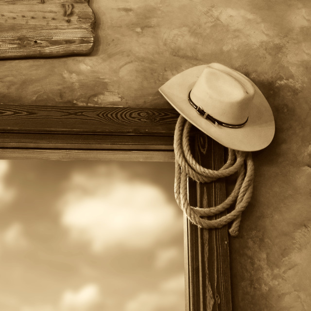 """Cowboy hat and rope"" stock image"