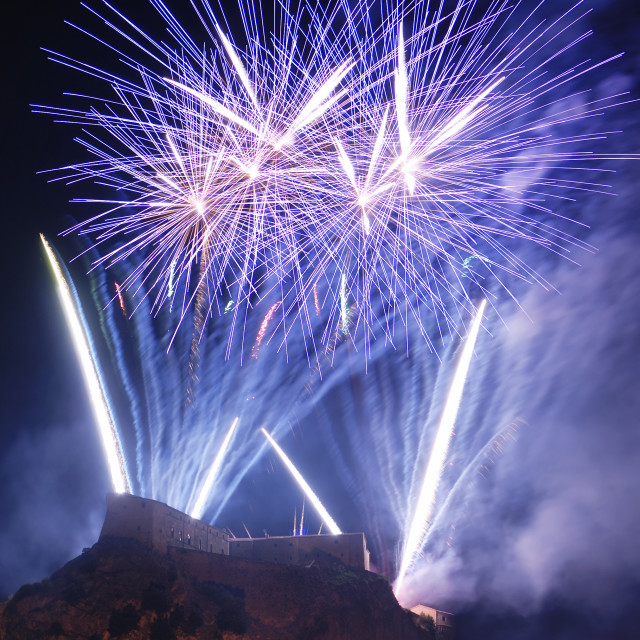 """Night firework at the castle"" stock image"