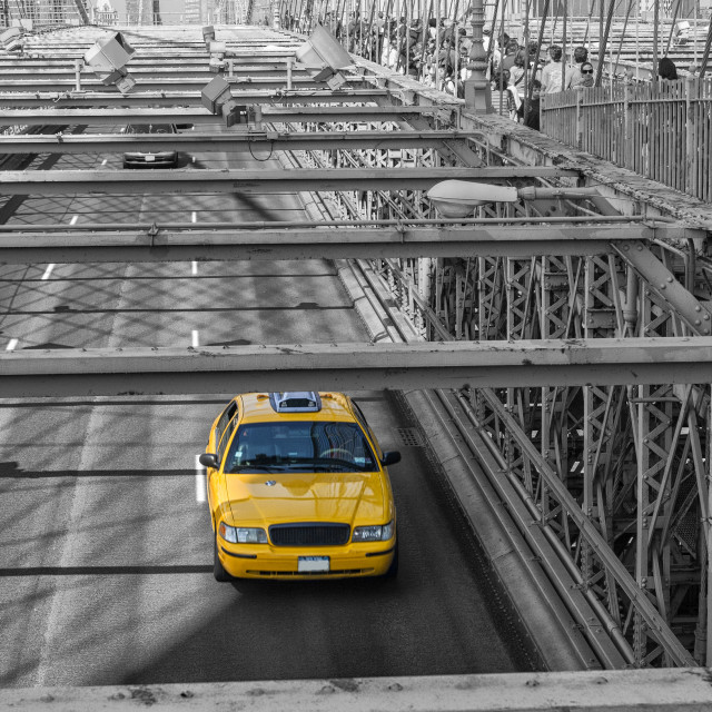 """Taxi on the Brooklyn bridge"" stock image"