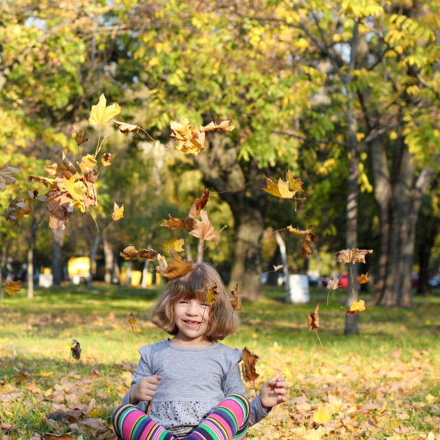 """""""happy little girl fun with autumn leaves"""" stock image"""