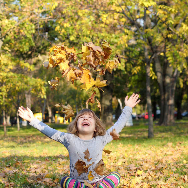 """little girl throws autumn leaves"" stock image"
