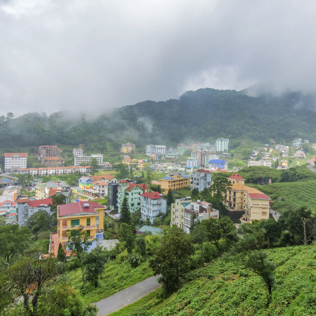 """Tam Dao town in the mist"" stock image"