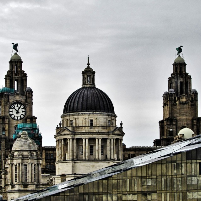 """The Liver Birds"" stock image"