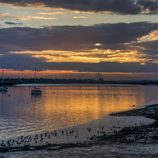 """View West in Setting Sun at north Fambridge"" stock image"