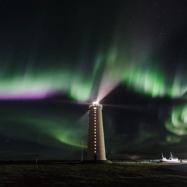 """""""Garðskagi lighthouse."""" stock image"""