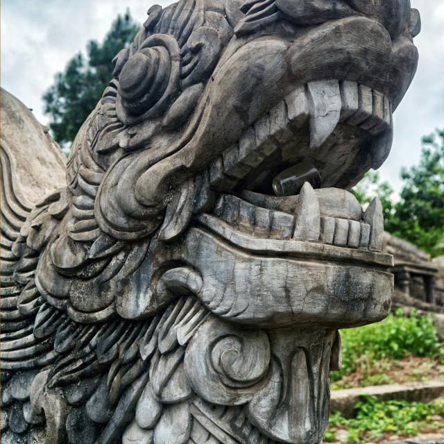 """Stone Dragon, Hue Graveyard, Vietnam"" stock image"