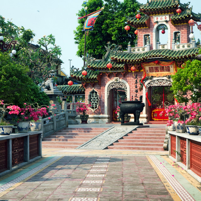 """Pink Temple Gate of Quan Cong, Hoi An, Vietnam"" stock image"