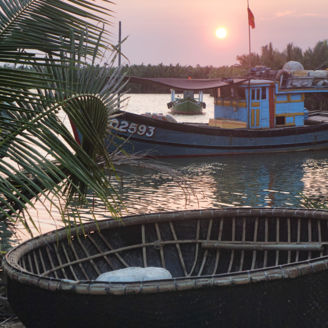 """Bowl Boat Lake at Sunset, Hoi An, Vietnam"" stock image"