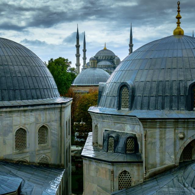 """Blue Mosque from Hagia Sophia"" stock image"