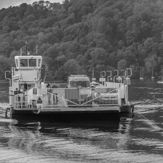 """""""Ferry on Coniston Water"""" stock image"""