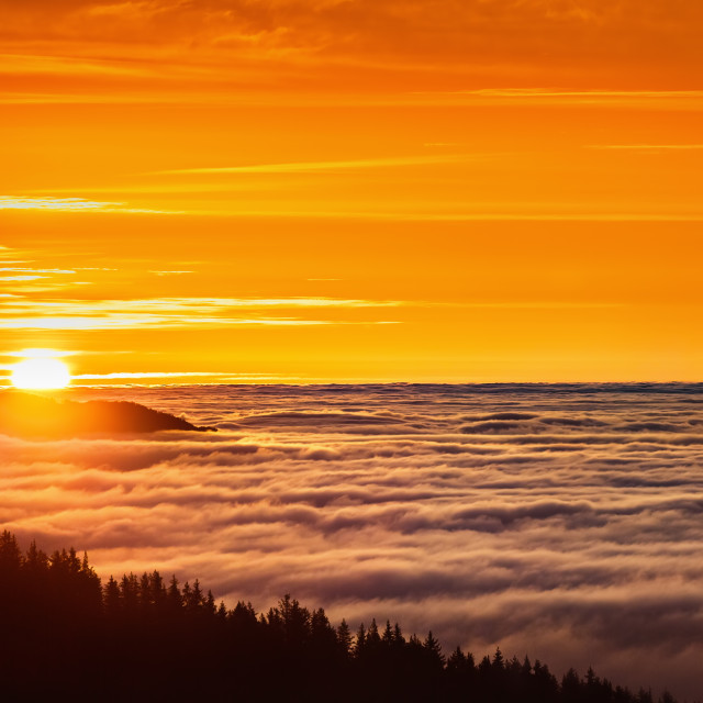 """Aerial view of Sunrise over mountain and fog"" stock image"