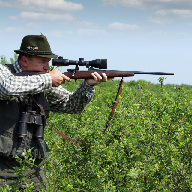 """hunter aiming with sniper rifle"" stock image"