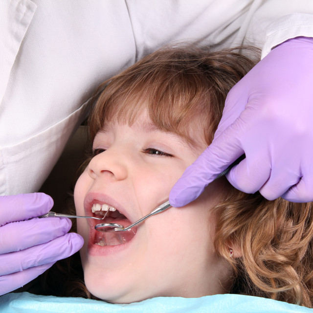"""""""child patient at the dentist dental examine"""" stock image"""