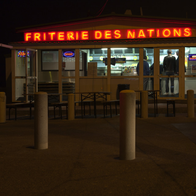 """Friterie on Calais sea front"" stock image"