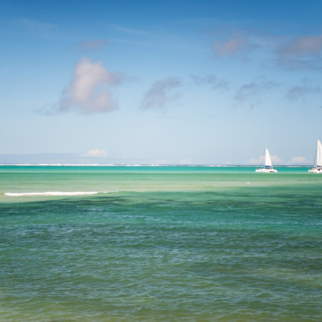 """""""Blue Waters and White Sails. Mauritius"""" stock image"""