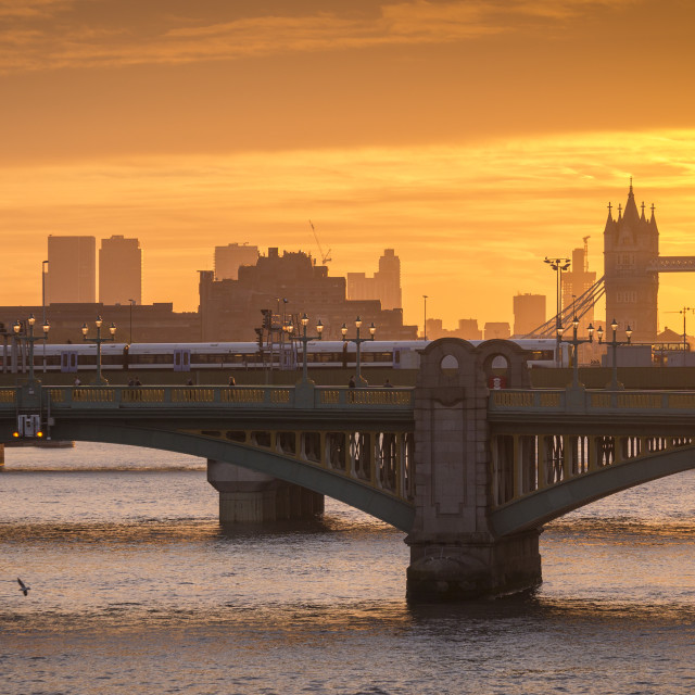 """Sunrise over the River Thames"" stock image"