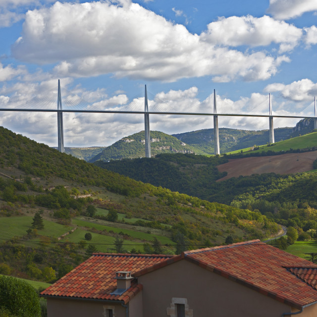 """Millau viaduct over the Tarn valley"" stock image"