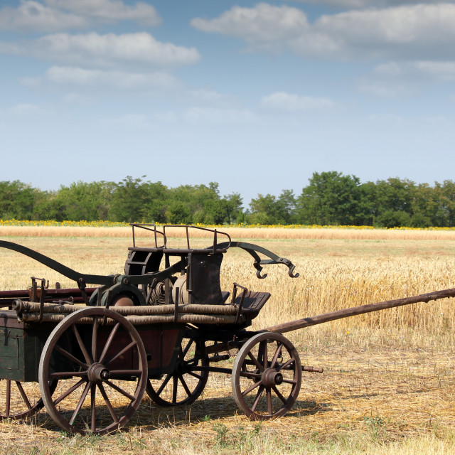 """""""old fire car coach on field"""" stock image"""